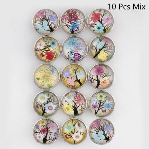 10pcs / lot botones a presión de vidrio Flor MixMix 20MM Botones a presión 15 tipos en imagen Broches Joyería
