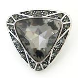 20MM Triangle snap Antique Silver Plated with gray  rhinestone KB8185 snaps jewelry