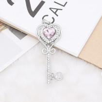 Diseño en forma de corazón 20MM chapado en plata con diamantes de imitación rosa KC9923 broches de joyería