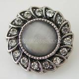 20MM feuille pression argent antique plaqué avec strass gris et opale KB8729 snaps bijoux