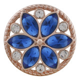 20MM round Rose-Gold Plated with blue rhinestone KC7545 snaps jewelry