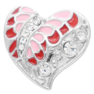 20MM  Butterfly snap Silver Plated with rhinestone and pink enamel KC7908 snaps jewelry