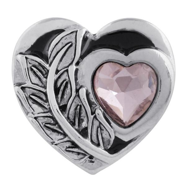 20MM Herz Druckknopf versilbert mit rosa Strass und Emaille KC5545 Druckknopf Schmuck