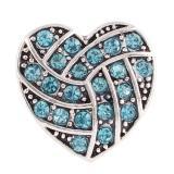 20MM Botón a presión de voleibol de corazón Chapado en plata antigua con joyería a presión de diamantes de imitación azul claro