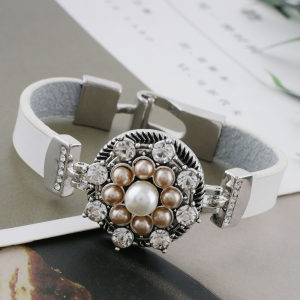 20MM design snap sliver Plated with brown pearl and rhinestone KC9892 snaps jewelry
