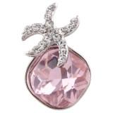 20MM Морская звезда оснастки посеребренная с розовыми стразами KC6374 оснастки ювелирные изделия