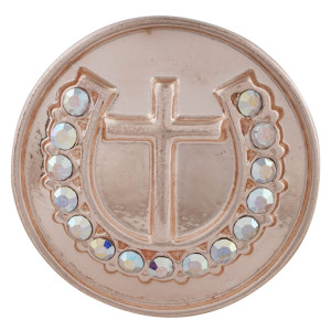 20MM cross Rose-Gold Plated with rhinestone KC5708 snaps jewelry