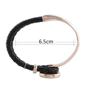 Cuero real negro y aleación con diamantes de imitación KC0764 pulseras de oro rosa en forma de trozos de broches 20mm