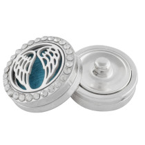 22mm white alloy wing Aromatherapy/Essential Oil Diffuser Perfume Locket snap with 1pc 15mm discs as gift