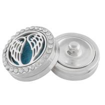 22mm weiße Legierung Flügel Aromatherapie / Ätherisches Öl Diffusor Parfüm Medaillon Snap mit 1pc 15mm Scheiben als Geschenk
