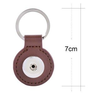 Brown pu leater fashion Keychain  buttons fit snaps chunks KC1122 Snaps Jewelry