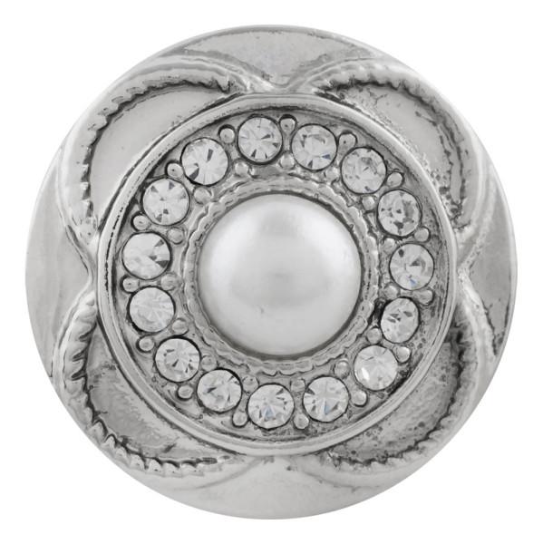 Astilla de diseño 20MM plateada con diamantes de imitación blancos y perlas KC5700 broches de joyería