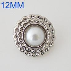 12mm round snaps Silver Plated with white Imitation pearls KB6560-S snap jewelry