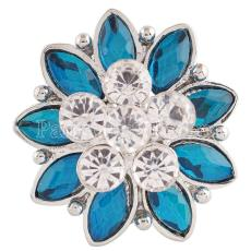 20MM Flower snap Silver Plated with cyan  rhinestones KC7197 snaps jewelry