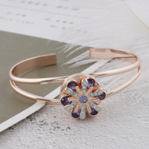 20MM design Rose Gold Plated with purple rhinestone KC5655 snaps jewelry