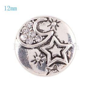 Broches 12mm de tamaño pequeño con diamantes de imitación blancos para joyas en trozos