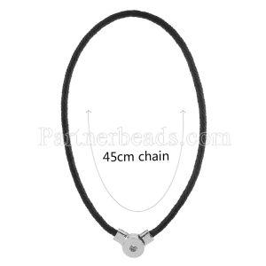 45CM Collar de cuero negro trenzado con broches