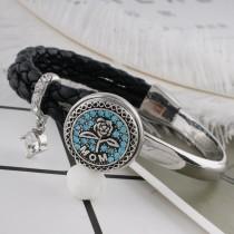 20MM mère snap ruban plaqué avec strass bleu KC6492 s'enclenche bijoux