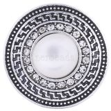 20MM round snap Antique Silver plated with white opal  KC6250 snaps jewelry