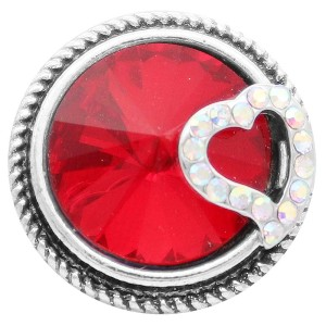 20MM love snap Silver Plated with red rhinestone KC7822 snaps jewelry