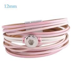 Partnerbeads 7.8 inch Bracelets en cuir rose à boutons-pression 1 ajustement 12mm s'enclenche KS0655-S
