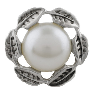 20MM Hojas chapa plateada con perla blanca KC5699 broches de joyería