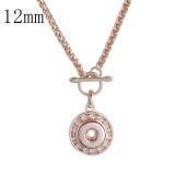 Colgante de diamantes de imitación Collar de oro rosa con cadena 58CM KS1143-S fit 12mm trozos broches joyería
