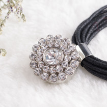 20MM Flower snap Silver Plated with white rhinestone KB8780 snaps jewelry