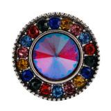Broche redondo 20MM Plateado antiguo Plateado con diamantes de imitación coloridos KC7689 Multicolor
