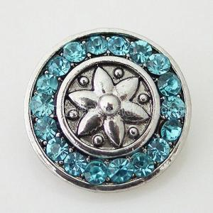 20MM Flower snap Silver Plated avec des strass cyan KB7416 snaps jewelry