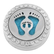 22mm weiße Legierung Fuß Aromatherapie / Ätherisches Öl Diffusor Parfüm Medaillon Snap mit 1pc 15mm Scheiben als Geschenk