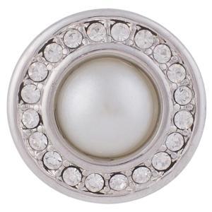 20MM Broche redondo plateado antiguo plateado con diamantes de imitación blancos y perlas KB5014 broches de joyería