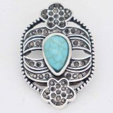 20MM design snap Silver Plated with  Rhinestone and cyanTurquoise KC6863 cyan