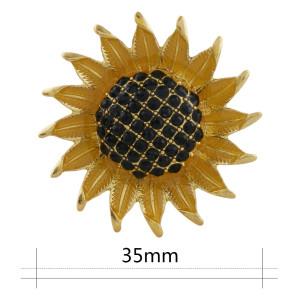 Girasol 20MM de gran tamaño chapado en oro Chapado con diamantes de imitación y esmalte amarillo KC9863 broches de joyería