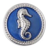 Broche de hipocampo 20MM chapado en plata antigua con esmalte azul KB7820 broches de joyería