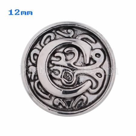12mm C Antique snaps Silver Plated KS5005-S snap jewelry