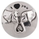 20MM Elephant snap silver plated with black Enamel KC5422 snaps jewelry