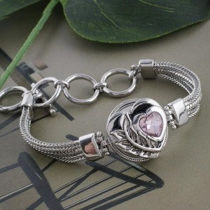 20MM heart snap silver plated with pink Rhinestone and Enamel KC5545 snaps jewelry