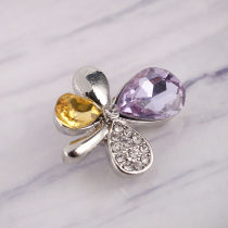 20MM Clover snap silver Plated with purple Rhinestones KC8969 snaps jewelry