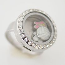 Stainless Steel RING  8# size  with Dia 20mm floating charm locket silver color