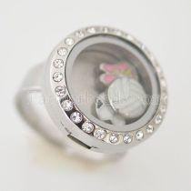 Кольцо из нержавеющей стали RING 8 # с Dia 20mm плавающий шарм медальон серебристого цвета