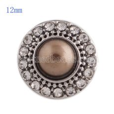 12MM round snap Antique Silver Plated with rhinestone and brown pearl KS8020-S snaps jewelry
