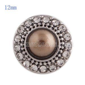 12MM круглая защелка Античное серебро с покрытием со стразами и коричневым жемчугом KS8020-S оснастки ювелирные изделия