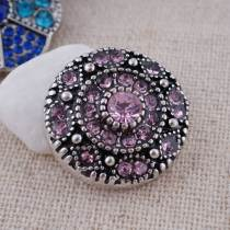 20MM round snap  Antique Silver Plated with pink rhinestone KC7075 snaps jewelry