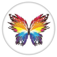 20MM Painted Butterfly enamel metal C5767 print snaps jewelry