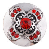 20MM Cruz de plata chapada con diamantes de imitación rojos KC7354 broches de joyería
