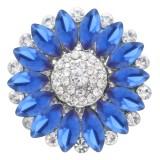 20MM цветок оснастки посеребренные с голубым стразами KC7869 оснастки ювелирные изделия