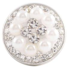 snaps button with white rhinestone and resinestone pearl KC2727 snaps jewelry
