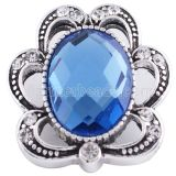 Защелки 20MM Античное серебро с голубыми и прозрачными стразами KC6235 защелкиваются ювелирные изделия