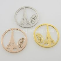 33MM stainless steel coin charms fit  jewelry size paris tower